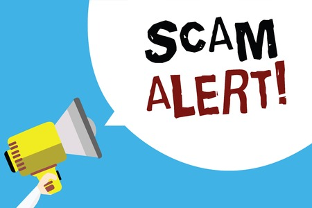 Writing note showing Scam Alert. Business photo showcasing warning someone about scheme or fraud notice any unusual Man holding megaphone loudspeaker speech bubble with blue background