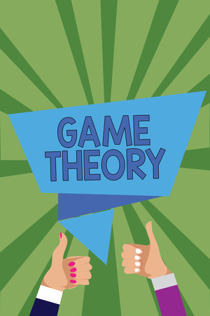 Conceptual hand writing showing Game Theory. Business photo showcasing branch of mathematics concerned with analysis of strategies Man woman hands thumbs up speech bubble rays background Stock Photo