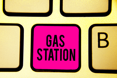 Handwriting text Gas Station. Concept meaning for servicing motor vehicles especially with gasoline and oil Keyboard pink key Intention create computer computing reflection document 写真素材