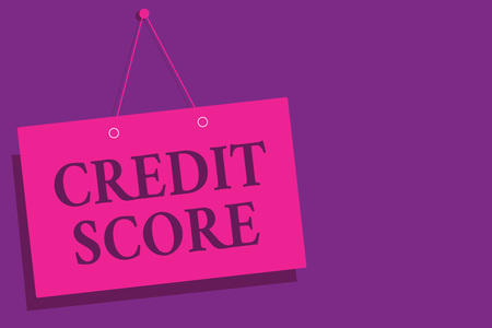Conceptual hand writing showing Credit Score. Business photo text Represent the creditworthiness of an individual Lenders rating Pink wall message communication open close sign purple background