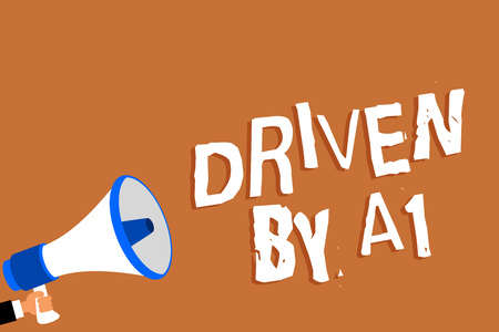 Text sign showing Driven By A1. Conceptual photo Move or controlled by a top quality driver in the society Man holding megaphone loudspeaker orange background message speaking loud