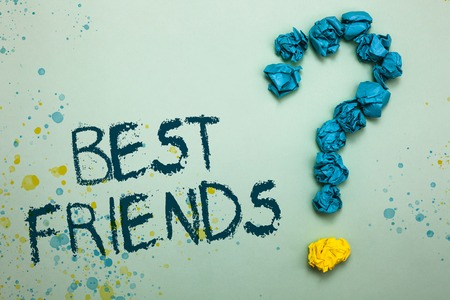 Handwriting text Best Friends. Concept meaning A person you value above other persons Forever buddies Crumpled papers forming question mark several tries unanswered doubt Stock Photo