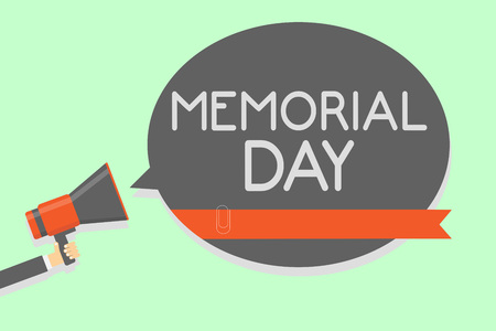 Conceptual hand writing showing Memorial Day. Business photo showcasing To honor and remembering those who died in military service Man holding megaphone loudspeaker speech bubble message loud