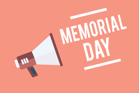 Text sign showing Memorial Day. Conceptual photo To honor and remembering those who died in military service Megaphone loudspeaker pink background important message speaking loud Stock Photo