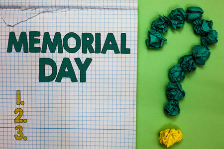 Writing note showing Memorial Day. Business photo showcasing To honor and remembering those who died in military service Square notebook crumpled papers forming question mark green background