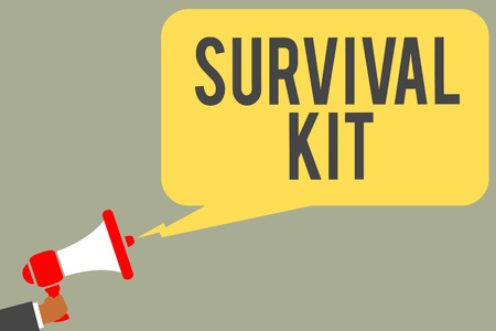 Conceptual hand writing showing Survival Kit. Business photo text Emergency Equipment Collection of items to help someone Man holding megaphone loudspeaker speech bubble message speaking