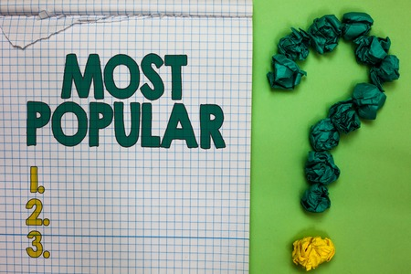 Writing note showing Most Popular. Business photo showcasing Liked Followed Enjoyed by majority of the people in a society Square notebook crumpled papers forming question mark green background