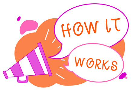 Handwriting text writing How It Works. Concept meaning Used to asked about on What Way or manner By What Means Megaphone loudspeaker speech bubbles important message speaking out loud