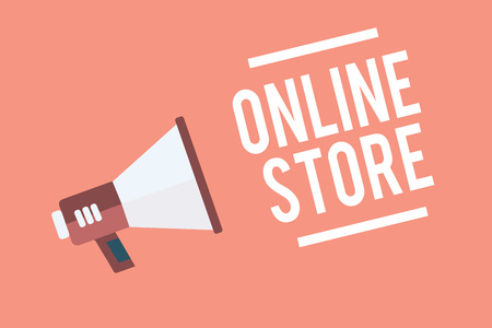 Text sign showing Online Store. Conceptual photo A website that offers items for sale and accept credit cards Megaphone loudspeaker pink background important message speaking loud 版權商用圖片