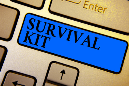 Conceptual hand writing showing Survival Kit. Business photo text Emergency Equipment Collection of items to help someone Keyboard blue key create computer computing reflection document Imagens