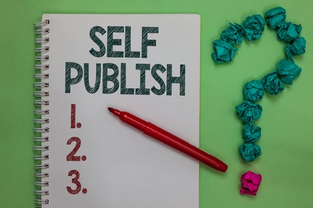 Handwriting text Self Publish. Concept meaning Published work independently and at own expense Indie Author Notebook marker crumpled papers forming question mark green background