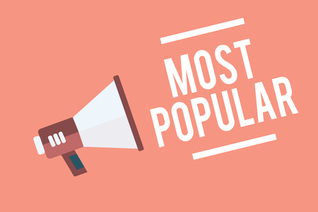 Text sign showing Most Popular. Conceptual photo Liked Followed Enjoyed by majority of the people in a society Megaphone loudspeaker pink background important message speaking loud