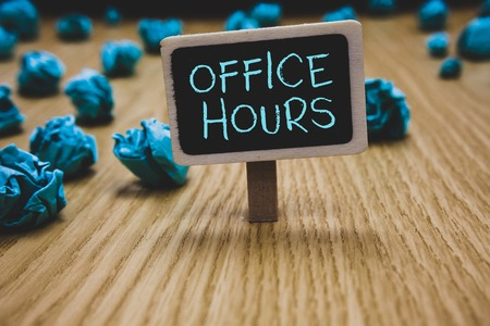 Writing note showing Office Hours. Business photo showcasing The hours which business is normally conducted Working time Blackboard crumpled papers several tries not satisfied wooden floor