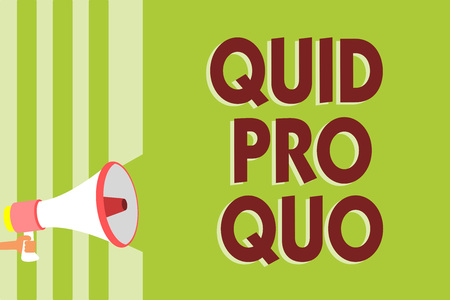 Writing note showing Quid Pro Quo. Business photo showcasing A favor or advantage granted or expected in return of something Megaphone loudspeaker green stripes important message speaking loud Stock Photo