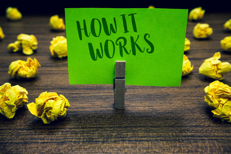 Conceptual hand writing showing How It Works. Business photo text Used to asked about on What Way or manner By What Means Clothespin holding green paper note crumpled papers mistakes