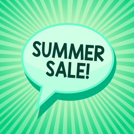 Handwriting text Summer Sale. Concept meaning Annual discount events that takes place during summer season Green speech bubble message reminder rays shadow important intention saying