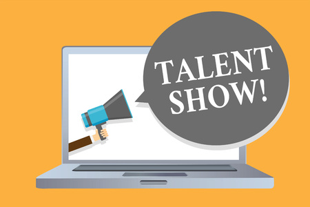 Word writing text Talent Show. Business concept for Competition of entertainers show casting their performances Man holding megaphone loudspeaker speech bubble message speaking loud Stock Photo