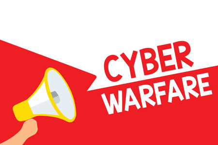 Word writing text Cyber Warfare. Business concept for Virtual War Hackers System Attacks Digital Thief Stalker Megaphone loudspeaker speech bubbles important message speaking out loud Stock Photo