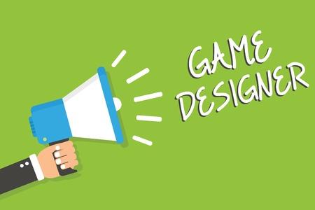 Handwriting text Game Designer. Concept meaning Campaigner Pixel Scripting Programmers Consoles 3D Graphics Man holding megaphone loudspeaker green background message speaking loud