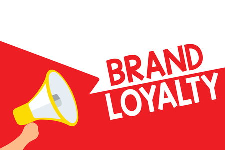 Word writing text Brand Loyalty. Business concept for Repeat Purchase Ambassador Patronage Favorite Trusted Megaphone loudspeaker speech bubbles important message speaking out loud