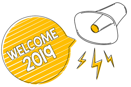 Handwriting text writing Welcome 2019. Concept meaning New Year Celebration Motivation to Start Cheers Congratulations Megaphone loudspeaker yellow speech bubble stripes important loud message Stock fotó