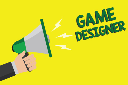 Text sign showing Game Designer. Conceptual photo Campaigner Pixel Scripting Programmers Consoles 3D Graphics Man holding megaphone loudspeaker yellow background message speaking loud
