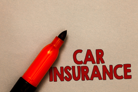 Word writing text Car Insurance. Business concept for Accidents coverage Comprehensive Policy Motor Vehicle Guaranty Open red marker intention communicating message ideas beige background
