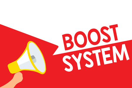 Word writing text Boost System. Business concept for Rejuvenate Upgrade Strengthen Be Healthier Holistic approach Megaphone loudspeaker speech bubbles important message speaking out loud