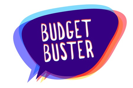 Conceptual hand writing showing Budget Buster. Business photo text Carefree Spending Bargains Unnecessary Purchases Overspending Speech bubble idea message reminder shadows important intention Stock Photo