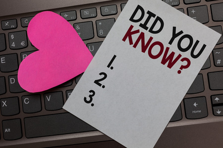 Handwriting text Did You Know question. Concept meaning Fun Facts and Figures Information General Knowledge Paper Romantic lovely message Heart Keyboard Type computer Good feelings