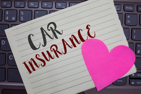 Conceptual hand writing showing Car Insurance. Business photo showcasing Accidents coverage Comprehensive Policy Motor Vehicle Guaranty Notebook paper keyboard Romantic Lovely ideas Type computer