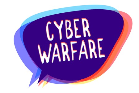 Conceptual hand writing showing Cyber Warfare. Business photo text Virtual War Hackers System Attacks Digital Thief Stalker Speech bubble idea message reminder shadows important intention