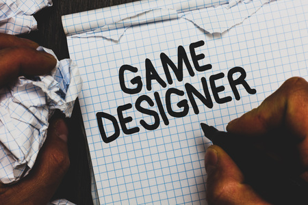 Handwriting text Game Designer. Concept meaning Campaigner Pixel Scripting Programmers Consoles 3D Graphics Man holding marker notebook crumpled papers ripped pages mistakes made