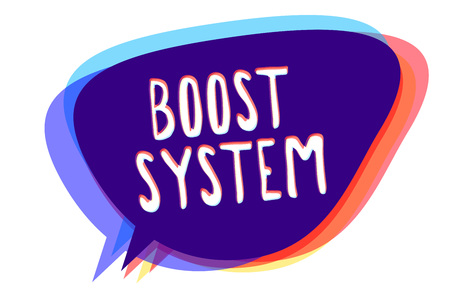 Conceptual hand writing showing Boost System. Stock Photo