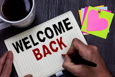 Conceptual hand writing showing Welcome Back. Stockfoto