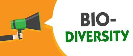 Handwriting text Bio Diversity.