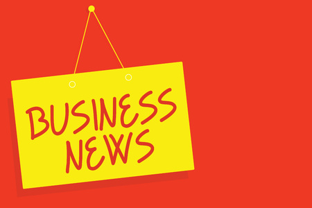 Handwriting text writing Business News. Concept meaning Commercial Notice Trade Report Market Update Corporate Insight Yellow board wall message communication open close sign red background Stok Fotoğraf