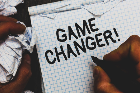 Handwriting text Game Changer. Concept meaning Sports Data Scorekeeper Gamestreams Live Scores Team Admins Man holding marker notebook crumpled papers ripped pages mistakes made
