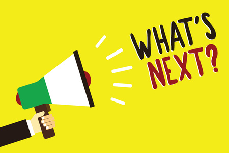 Text sign showing What s is Next question. Conceptual photo Get information Ask Query Investigate Probes Explore Man holding megaphone loudspeaker yellow background message speaking loud Stock Photo