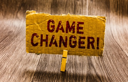 Conceptual hand writing showing Game Changer. Business photo text Sports Data Scorekeeper Gamestreams Live Scores Team Admins Paper notes reminders question mark asking important answer
