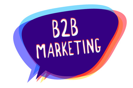 Conceptual hand writing showing B2B Marketing. Business photo text Partnership Companies Supply Chain Merger Leads Resell Speech bubble idea message reminder shadows important intention 스톡 콘텐츠