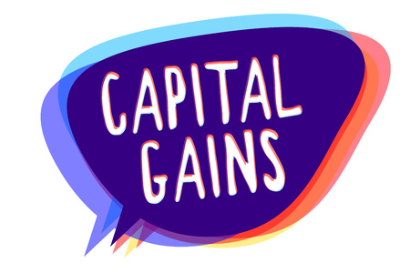 Conceptual hand writing showing Capital Gains. Business photo text Bonds Shares Stocks Profit Income Tax Investment Funds Speech bubble idea message reminder shadows important intention