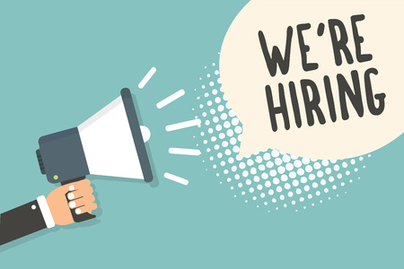 Handwriting text We re are Hiring. Concept meaning Advertising Employment Workforce Placement New Job Man holding megaphone loudspeaker speech bubble blue background halftone 스톡 콘텐츠