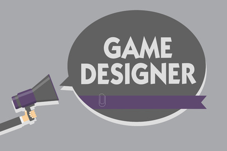 Text sign showing Game Designer. Conceptual photo Campaigner Pixel Scripting Programmers Consoles 3D Graphics Man holding megaphone loudspeaker speech bubble message speaking loud Banco de Imagens