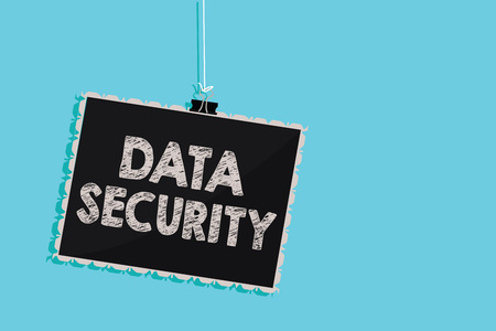 Conceptual hand writing showing Data Security. Business photo showcasing Confidentiality Disk Encryption Backups Password Shielding Hanging blackboard message information sign blue background