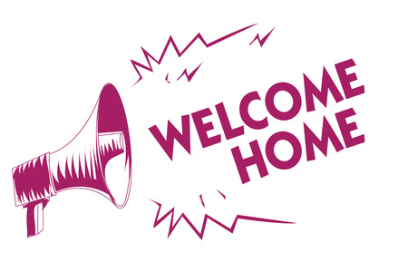 Conceptual hand writing showing Welcome Home. Business photo showcasing Expression Greetings New Owners Domicile Doormat Entry Purple megaphone important message screaming speaking loud Imagens