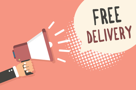 Conceptual hand writing showing Free Delivery. Business photo showcasing Shipping Package Cargo Courier Distribution Center Fragile Man holding megaphone speech bubble pink background halftone