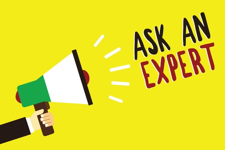 Text sign showing Ask An Expert. Conceptual photo Superior Reliable Ace Virtuoso Curiosity Authority Geek Man holding megaphone loudspeaker yellow background message speaking loud Foto de archivo