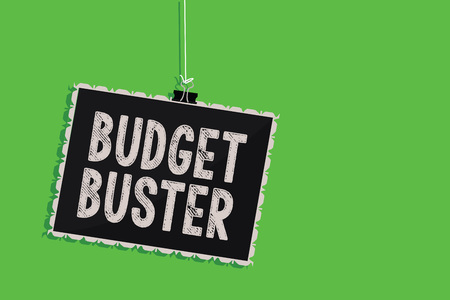 Text sign showing Budget Buster. Conceptual photo Carefree Spending Bargains Unnecessary Purchases Overspending Hanging blackboard message communication information sign green background
