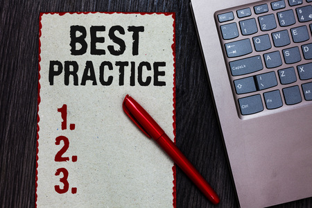 Handwriting text writing Best Practice. Concept meaning Method Systematic Touchstone Guidelines Framework Ethic Piece paper red borders black marker computer keyboard wooden background
